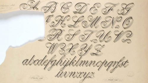 A hand lettered alphabet with a large tear on the left hand side obscuring some letters