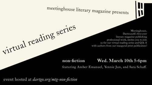 there is text about the event in a black and beige graphic. the text is slanted, as if approaching a perspective point in the right hand corner.