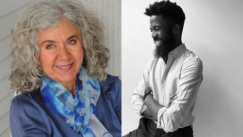 On the left, a headshot of Cleopatra Mathis. She is wearing a blue blouse and light blue scarf. On the right, an image of Joshua Bennett in black and white. He sports a striped button down and a beard. He is laughing.