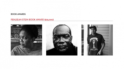 Three black and white square images. The left image is Professor Francis, the middle is Fred Moten, the right image is Tommy Orange.