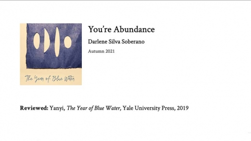 "on a white background, the text ""You're Abundance"" Darlene Silva Soberano / Autumn 2021"