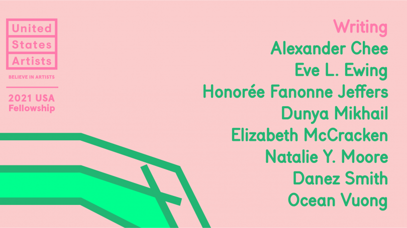 a pink image with the names of the eight winners of the USA 2021 Writing Fellowships