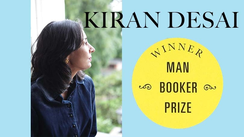 on a blue background, an image in which Kiran Desai looks to the right is overlaid to the lefthand side. On the right is a yellow sticker that says WINNER MAN BOOKER PRIZE