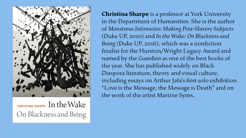 An image of Christina Sharpe's book next to her bio (in the article below) with a blue background