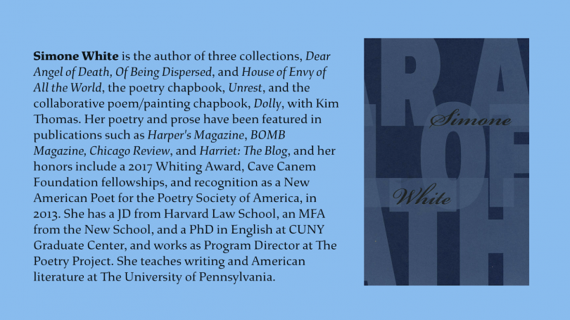 An image of White's book next to her bio (in the article below) on a blue background